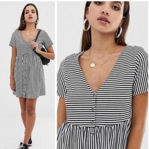 Asos Mini V-neck Button Through Stripe Dress